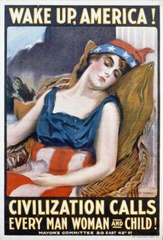World War I-era poster created by artist James Montgomery in 1917 for the Mayor's Committee, New York  Poster aus der Zeit des Ersten Weltkriegs, gezeichnet vom Künstler James Montgomery im Jahr 1917 für das Komitee des Bürgermeisters, New York  (Library of Congress, Prints and Photographs Division, Washington, D.C.)