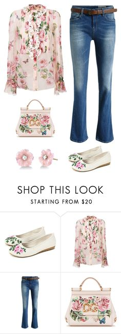 """""""OOTD/Casual floral flats"""" by im-karla-with-a-k ❤ liked on Polyvore featuring Dolce&Gabbana, Irene Neuwirth and chicflats"""