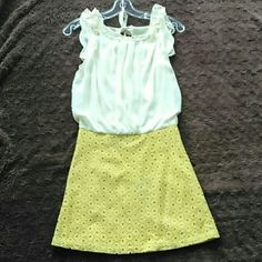 Dress Beautiful summer short sleeve dress.. Beige on top yellow on bottom. Altar'd State Dresses
