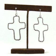 Silver Rope Cross Earrings