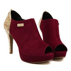 Sexy Women's RED Peep Toed Shoes With Suede and Sequins Design $39.99 – PEDICURE & SHOES 2 GO, LLC