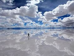 Salar de Uyni, Bolivia largest mirror from salty deposits. So reflective it an calibrate satellites.