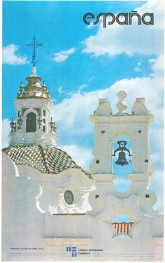 Vintage Travel Poster - Campanario de Valverde del Camino - Huelva - Andalucia Spain - 1976.