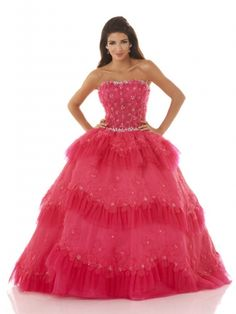 Princess Strapless Puffed Quinceanera Dress With Layers Of Ruffled Tulle