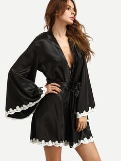 Black Crochet Trimmed Kimono Robe — 0.00 € ----------------------color: Black size: one-size