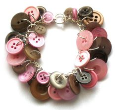 Button Bracelet Pink Brown Button Jewelry by beadingshaz on Etsy, £15.00