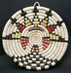 Hopi Native American  Indian Baskets,  - Hopi Kachina Design Coil Basket