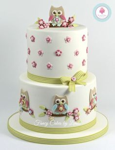 Owl Themed Celebration Cake - CakesDecor