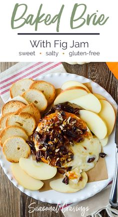 This Baked Brie with Fig Jam is gooey, sweet and salty all at the same time. Perfect on salty crackers or sweet apples and takes moments to make. via # Easy Recipes gluten free Baked Brie with Fig Jam Gluten Free Appetizers, Yummy Appetizers, Appetizer Recipes, Baked Brie Recipes, Fig Recipes, Easy Recipes, Recipies, Baked Brie With Jam, Baked Brie Appetizer
