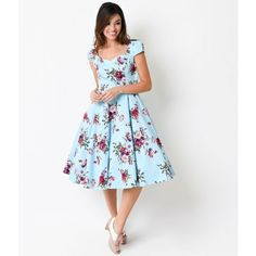 1950s Style Blue Floral Cap Sleeve Royal Ballet Swing Dress | Unique... ($72) ❤ liked on Polyvore featuring dresses, pin up dresses, white cap sleeve dress, blue dress, floral swing dress and flower print dress