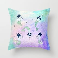 Curious Mermaids Throw Pillow by Lsalis. Worldwide shipping available at Society6.com. Just one of millions of high quality products available.