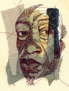 Interesting characters theme Shirley Nette Williams - stitch portrait - machine embroidery on various fabrics. Free Motion Embroidery, Embroidery Art, Machine Embroidery, Ribbon Embroidery, Embroidery Patterns, Thread Art, Thread Painting, Textile Fiber Art, Textile Artists
