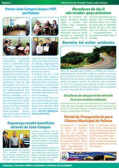 Informativo Nº3 do Vereador Pastor João Campos de Palmas-Tocantins. Agosto de 2013.