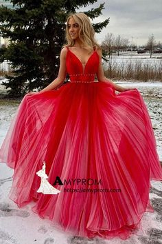 Red v neck tulle long prom dress, red tulle evening dress, customized service and Rush order are available Cheap Evening Dresses, Prom Dresses For Sale, A Line Prom Dresses, Modest Dresses, Evening Gowns, Long Dresses, Modest Clothing, Pageant Dresses, Lovely Dresses