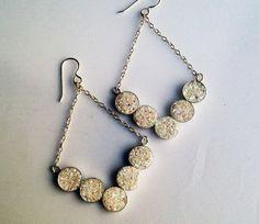 Opalescent + Iridescent Snow White Drusy V Dangle Earrings Handmade in Sterling Silver, $142
