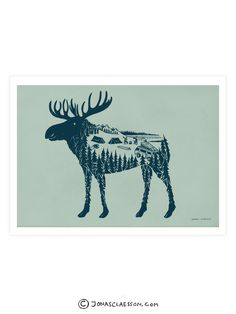 Moose World Art Print. Gallery quality Giclee print on natural white, matte, ultra smooth, 100% cotton rag, acid and lignin free archival paper (250 gsm weight) using Epson K3 archival inks. Custom tr