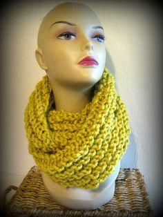 Chunky Thick Knit Lemon Citron Yellow Convertible Circle Scarf Cowl
