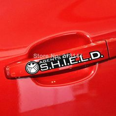 S.H.I.E.L.D.Car styling Car Door stickers and decals Reflective Auto Car Door Handle  stickers ,Creative Car Decoration $3.80