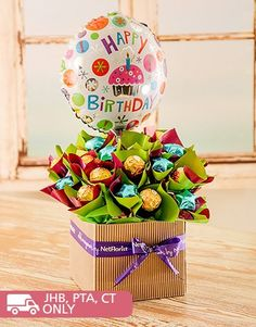 Buy or Send say Happy Birthday! with a delectable edible arrangement. A bowed box that includes Belgian chocolate stars, Ferror Rocher balls and a birthday balloon awaits your loved ones arms! in South Africa. | Item Code NETER029