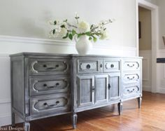 RESERVADO para FRAN - mediados siglo sueco gustaviano estilo pintadas resistido consola gris apenados antiguos mueble Buffet aparador