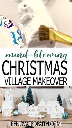 """You won't believe the before photo!  This easy step-by-step tutorial and video shows you how to give your Christmas village or nativity scene display a makeover with paint and a little clear glitter. This vintage village makeover can also work on a nativity set, no matter the colors.  Included are display ideas to give it a """"wood and white"""" look. Thrifted Christmas Village Makeover Makeover.  Dollar Store Christmas Village Display, Christmas Houses, Christmas Villages, Christmas Wishes, Christmas Time, Merry Christmas, Xmas, Elegant Christmas Decor, Christmas Gift Decorations"""