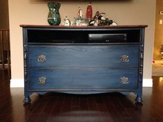 Annie Sloan Napoleonic Blue Chalk Paint with Dark Wax