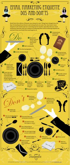 to get your email marketing etiquette on? Here's a great infographic demonstrating the dos & don'ts of email marketing.Ready to get your email marketing etiquette on? Here's a great infographic demonstrating the dos & don'ts of email marketing. Inbound Marketing, Social Marketing, Affiliate Marketing, Marketing Website, Email Marketing Campaign, Email Marketing Strategy, Mobile Marketing, Marketing Tools, Marketing Digital