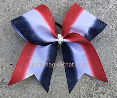 3 Width Cheer Bow 7x7 Texas Size Cheer Red by JustImagineThatBows