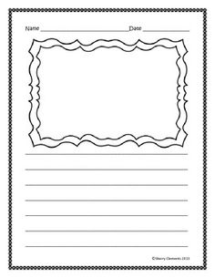 FREEBIE: Writing Paper (lined with drawing frame) Good to have copied and ready for after assemblies, speakers or field trips. Quick and easy. Kindergarten Language Arts, Kindergarten Literacy, Literacy Activities, Children Activities, Writing Resources, Teaching Writing, Classroom Resources, Classroom Decor, Teaching Resources