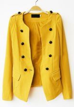 Yellow Long Sleeve Pads Shoulder Double Breasted Slim Blazer $39.68