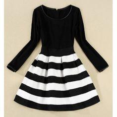 Elegant Scoop Neck Color Matching Long Sleeve Striped Dress For Women, BLACK, M in Dresses 2014   DressLily.com