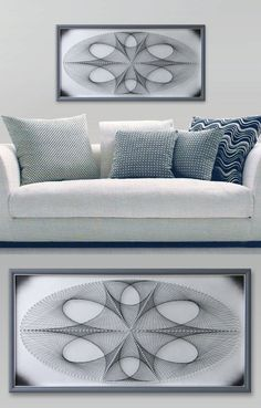 "Ellipse in Silver Gray, Abstract Wall Decor, 3D Modern String Art, Framed 24,4""x…"