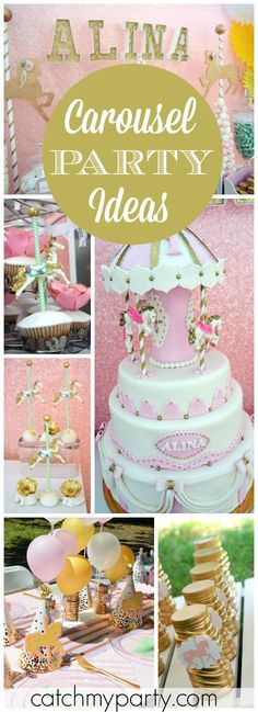 How pretty is this carousel birthday party in pink, green and gold! See more party ideas at CatchMyParty.com!