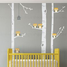 Birch Tree Wall Decal Birch Tree With Owls Wall von SimpleShapes
