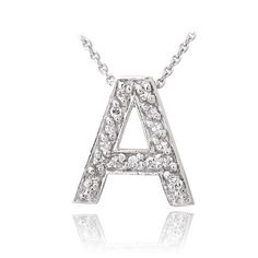 Letter U Name Initial Necklace With Cubic Zirconia  Every Cubic