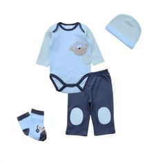 Blue Monkey Set Baby Bodysuit