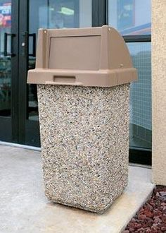 Outdoor Trash Can. Heavy, theft proof concrete garbage can. Made with steel rebar. Perfect for any outdoor commercial location. Many lid options and colors to match your site. Outside Living, Outdoor Living, Outdoor Decor, Waste Container, Container Gardening, Outdoor Projects, Diy Projects, Outdoor Trash Cans, Garbage Can