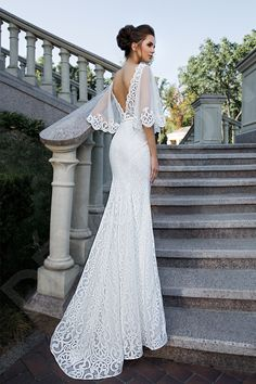 Gorgeous Embroidered Backless Lace Trumpet Wedding Dress / Bridal Gown with V-Neck Cut, Open Back, Half Long Sleeves and a Train by Slanovskiy Bridal Gown Styles, Bridal Style, Bridal Dresses, Bridesmaid Gowns, Dresses Dresses, Wedding Dress Trends, Designer Wedding Dresses, Wedding Gowns, Lace Wedding