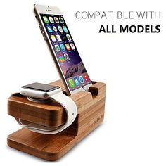 Discounted Wooden Apple Watch iPhone Bamboo Stand Charging Cradle Holder Nightstand Station 2 in 1 Dual Charger Dock Fit iPhone 7/7Plus, 6/6 Plus, 5/5S/5C, iWatch 42mm & 38mm Original BASIC / SPORT / EDITION