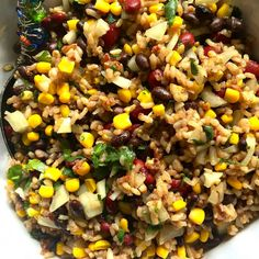 Mexican Rice Salad With Cooked Rice Kidney Beans Black Beans Whole Kernel Corn Drained Onion Cherry Tomatoes Jalapeno Peppers Olive Oil Lime Cilantro Leaves Minced Garlic Honey Ground Cumin Salt Queso Fresco Cheese Mexican Rice Salad Recipe, Fiesta Rice Recipe, Rice Salad Recipes, Mexican Salads, Rice Recipes For Dinner, Mexican Food Recipes, Healthy Recipes, Savoury Recipes, Mexican Dishes