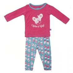 Print Long Sleeve Pajama Set in Glacier Mittens