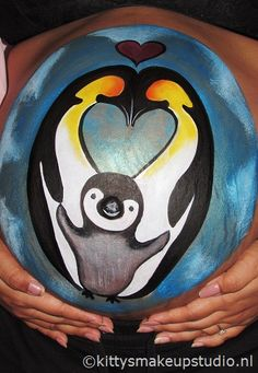 Penguin family bellypaint.