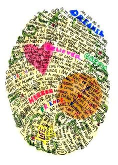 This is a fun idea! Write your poetry inside an oval and create your own poetic fingerprint.