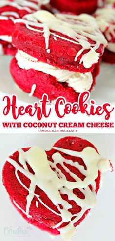 Make Valentine's Day even sweeter with these easy, adorable and delicious red velvet sandwich cookies! Two layers of rich red velvet cake filled with decadent coconut cream cheese frosting! #redvelvet #cookies #cookiedecorating #cookiedough #valentinesday #valentine #dessert #dessertrecipes #desserts #yummy #delicious