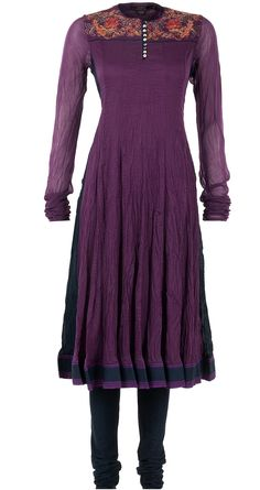 Aubergine embroidered kurta by BIBA by ROHIT BAL. Shop now at perniaspopupshop.com