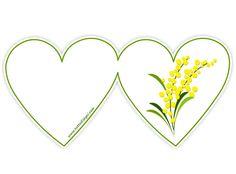 Biglietto a forma di cuore con mimosa - Tutto Disegni