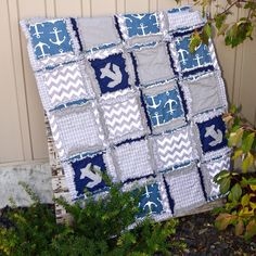 Custom handmade nautical crib set in navy blue and gray. Baby boy crib bedding with Anchors. The modern Nautical baby bedding features: - All fabrics that are 100% Cotton - Made with modern designer q