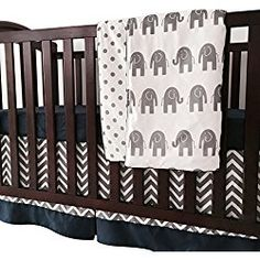 Online shopping from a great selection at Baby Store. Elephant Crib Bedding Set, Boys Bedding Sets, Nursery Bedding Sets, Blue Crib, Baby Comforter, Baby Boy Rooms, Sheet Sets, Grey Chevron, Cribs