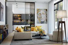 Dnevni boravci s prekrasnim žutim detaljima | Uređenje doma