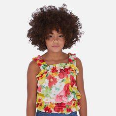 Bluzka Z Gazy Dla Dziewczynki Mayoral 6172-75 Czerwony Kids Fashion, Models, Print Chiffon, Spring Summer